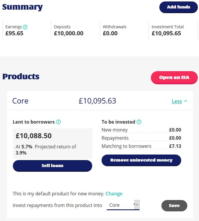 Zopa Account Screenshot 1 Oct 2018