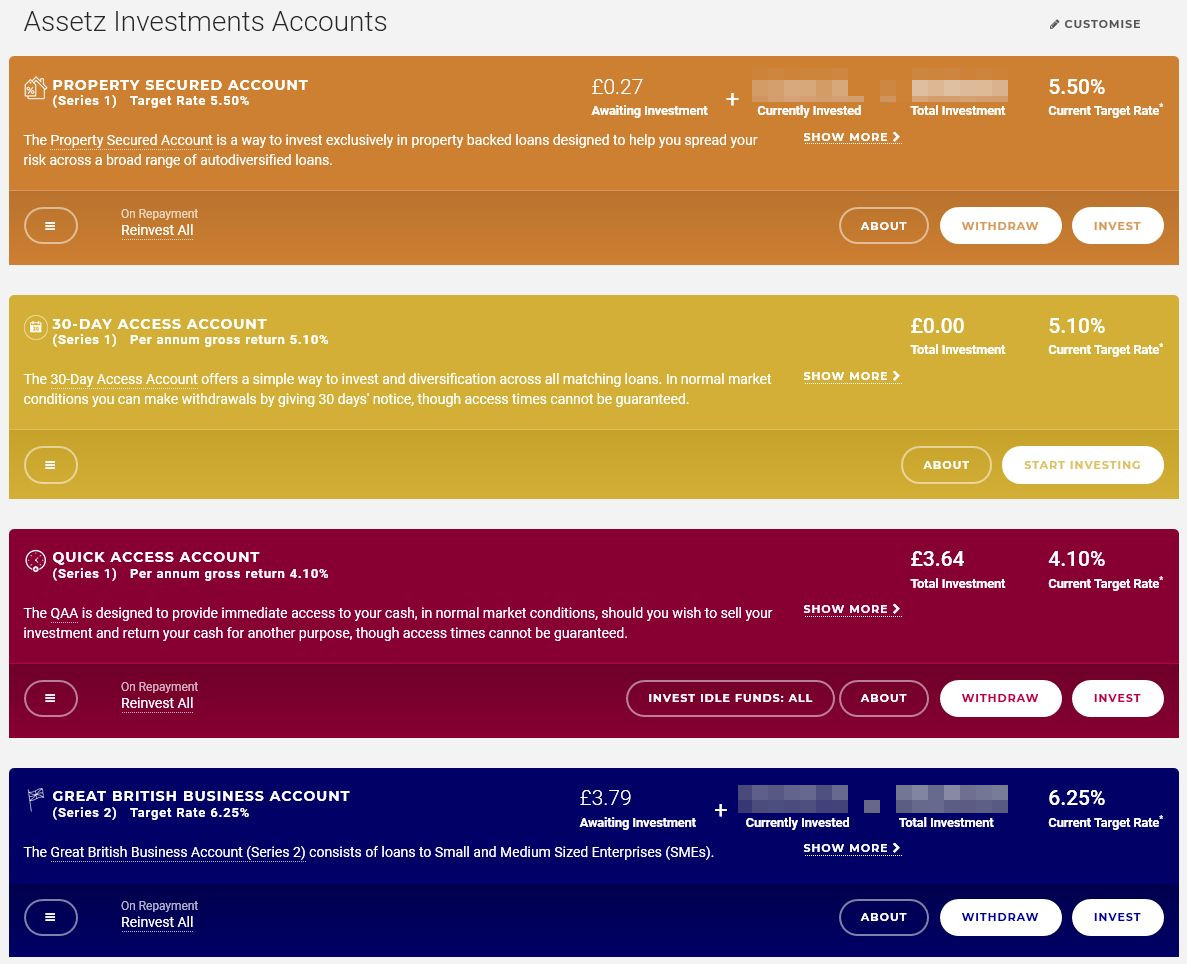 Assetz Capital Auto-Invest Accounts Screenshot