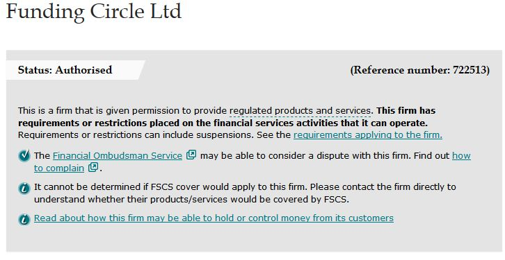 Funding Circle FCA Screenshot