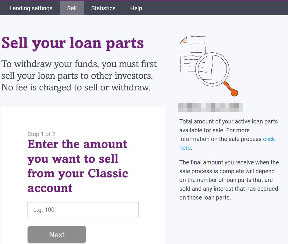 Funding Circle Sell Loans Screenshot