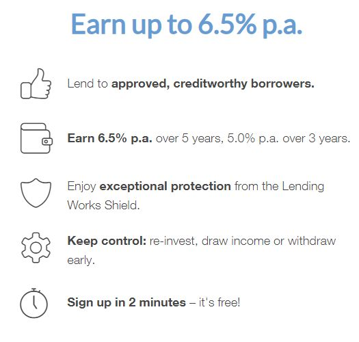 Lending Works Earn Up To 6.5% Screen Shot - LendingWorks Review