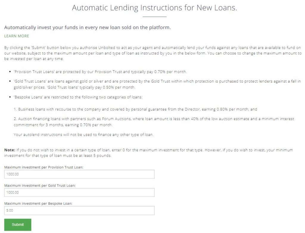 Unbolted Review -  Automatic Lending Instructions Screenshot - June 2019