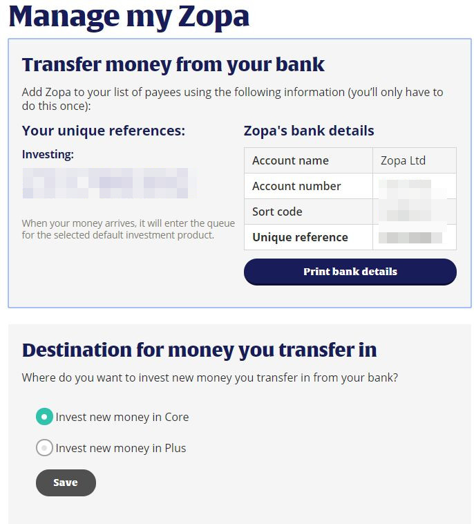 My Zopa Deposit Screenshot - Zopa Loans Review