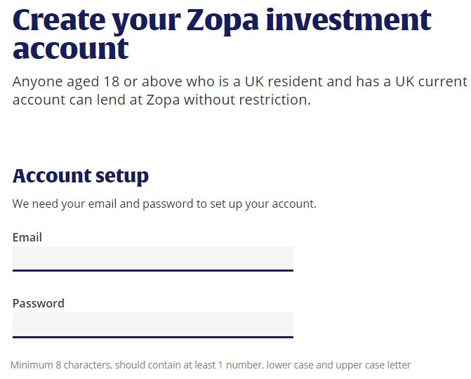 Zopa Signup Screenshot - Zopa Loans Review