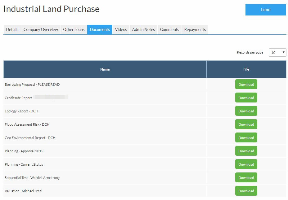 Ablrate Peer to Peer Lender - Available Loan Documents Screenshot