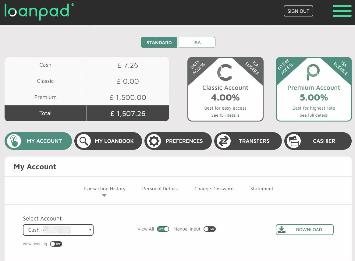 Loanpad Account Screenshot for April 2019 Update 1
