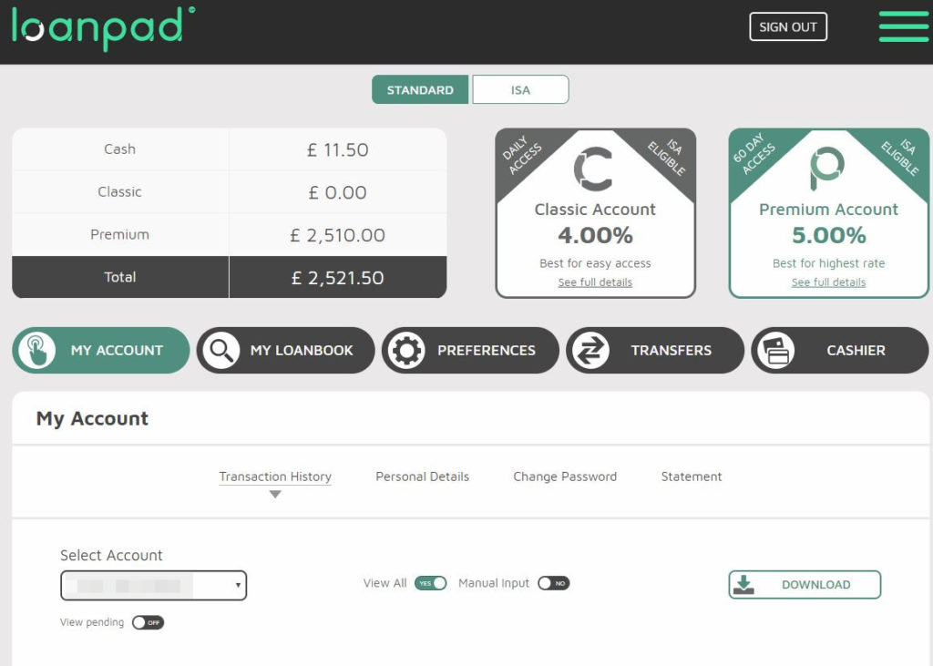 Loanpad Account Screenshot for June 2019 P2P Lending Update 1