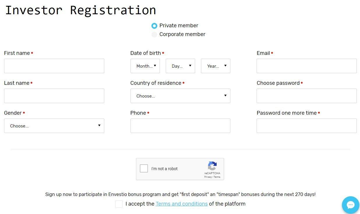 Envestio Sign Up Screenshot for Envestio Review