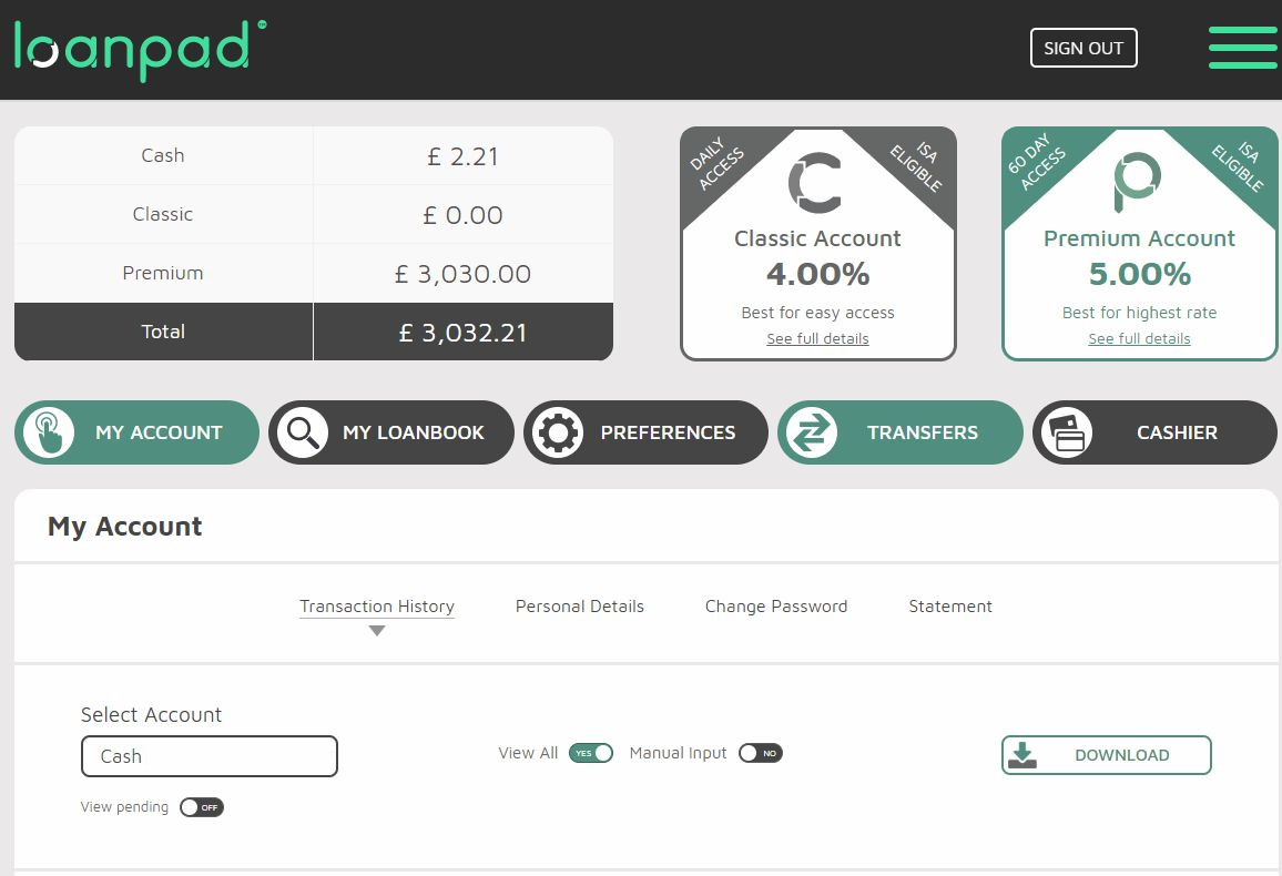Loanpad Account Screenshot for Peer to Peer Lending July 2019 Update 1