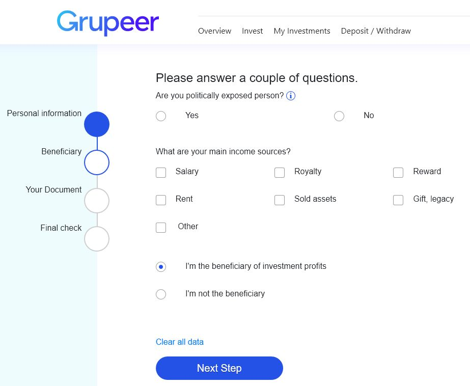 Grupeer Review - Signup Screen 2