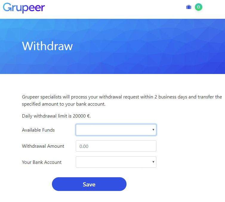 Grupeer Review - Withdraw Screen