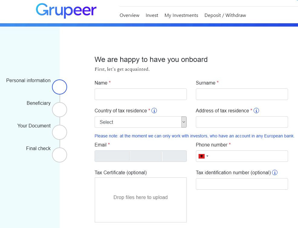 Grupeer Review - Signup Screen