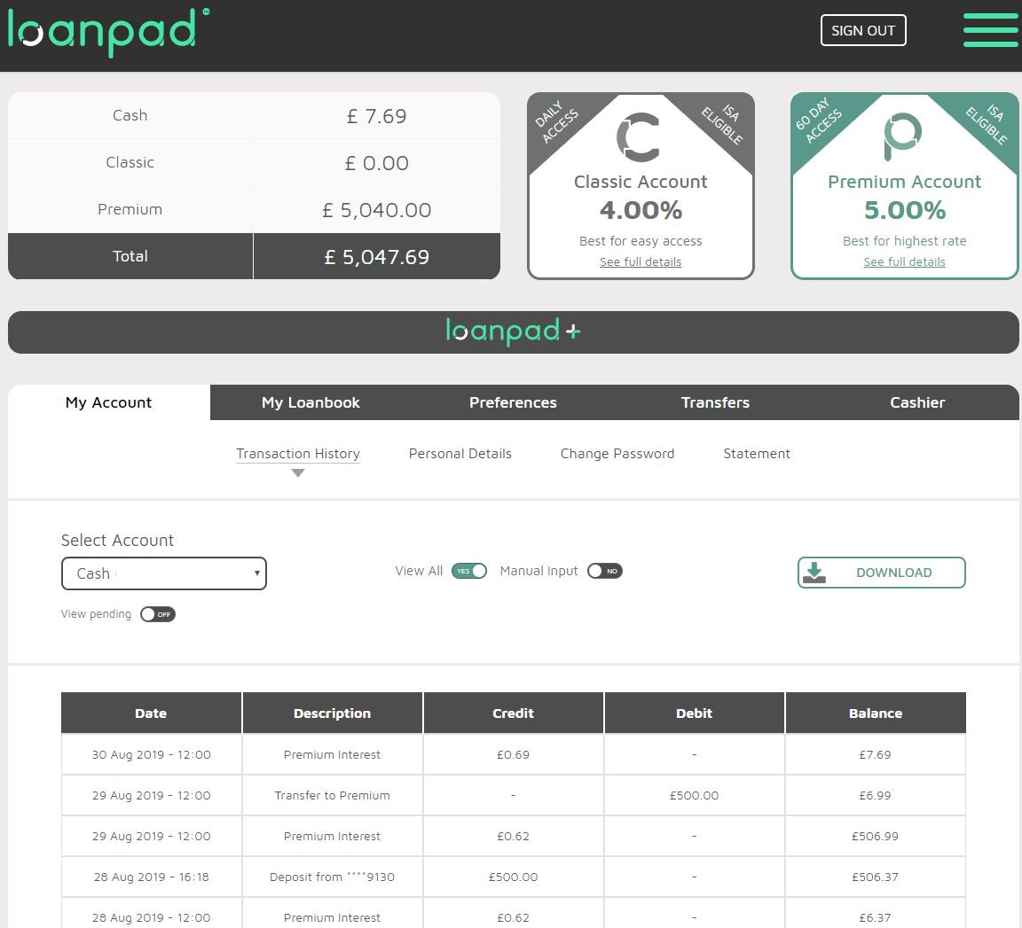 Loanpad Account Screenshot for Peer to Peer Lending Update - August 2019 1