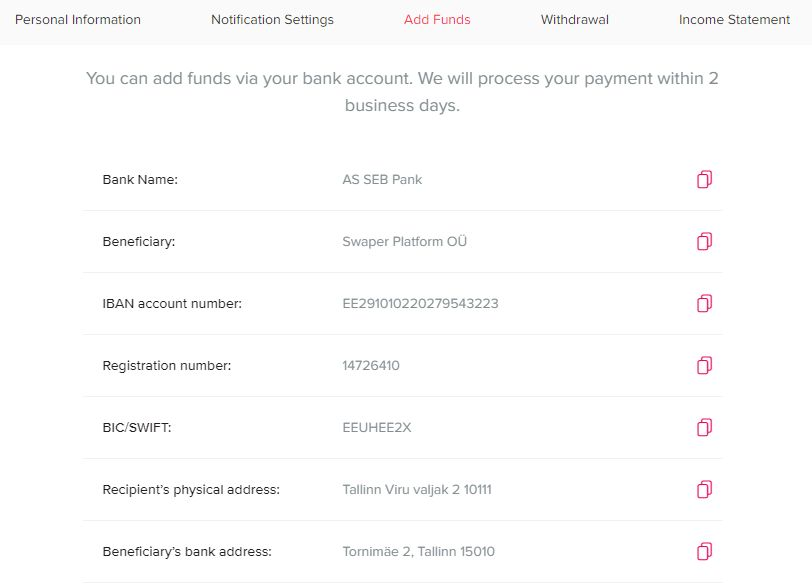 Swaper Deposit Funds Screenshot - Swaper Review