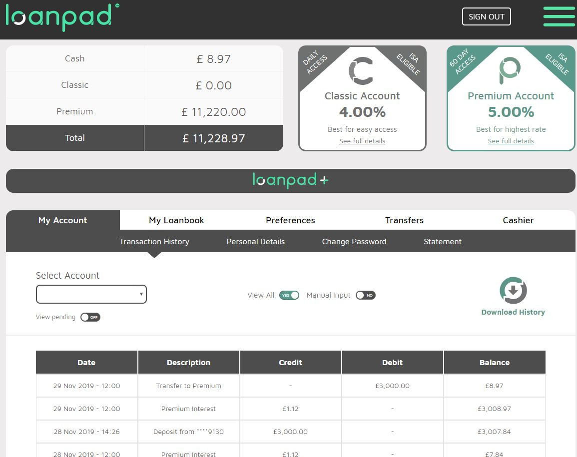 Loanpad Account Screenshot for November 2019 P2P Lending Update