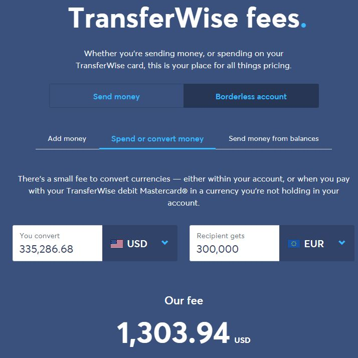 TransferWise Charge Screenshot