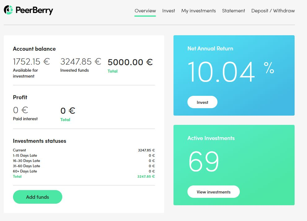 PeerBerry Main Account Screenshot 1 - PeerBerry Review