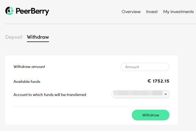 PeerBerry Withdraw Screenshot 2 - PeerBerry Review