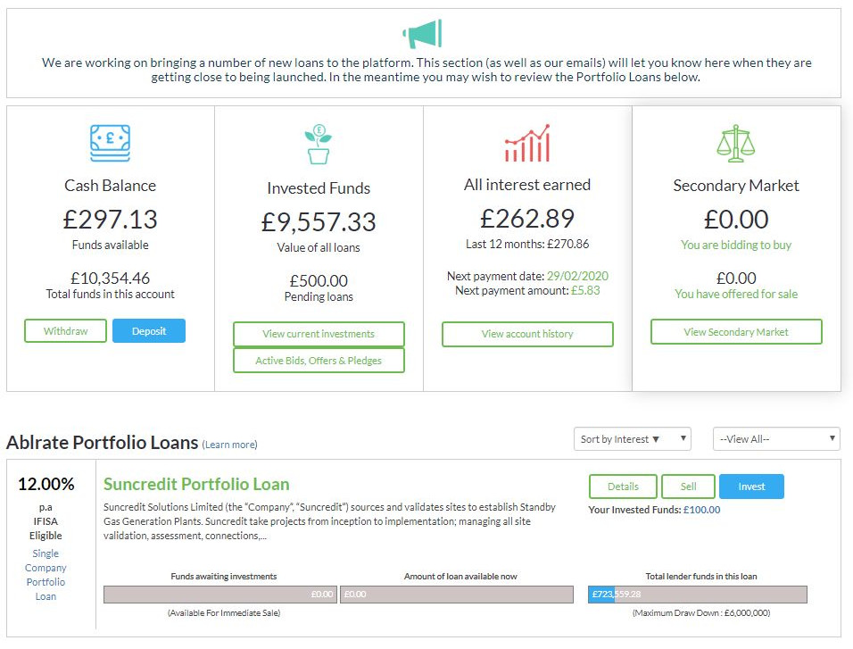 Ablrate Account Screenshot 1 - Feb 2020 P2P Lending Update