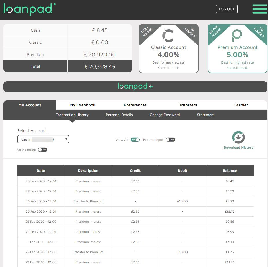 Loanpad Account Screenshot 1 - Feb 2020 P2P Lending Update