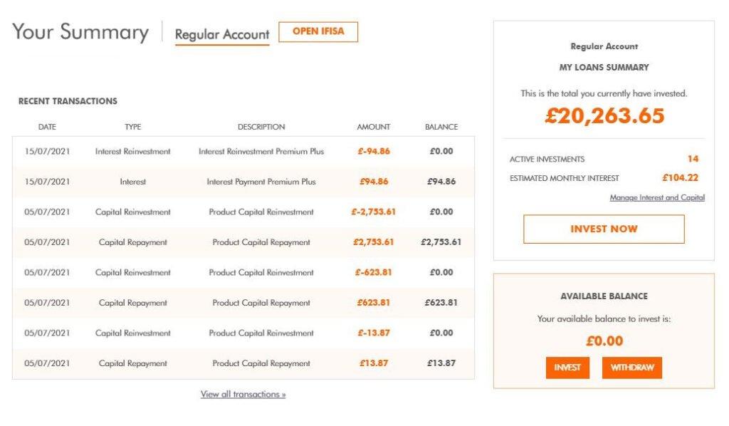 easyMoney Account Screenshot 1 - August 2021 Peer to Peer Lending Update